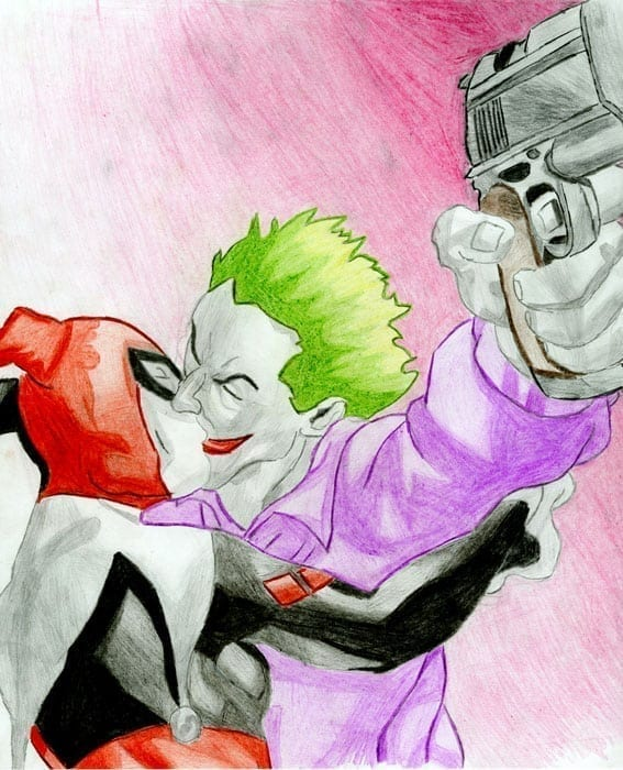 Joker and Harley Quinn Hand Drawn Portrait.