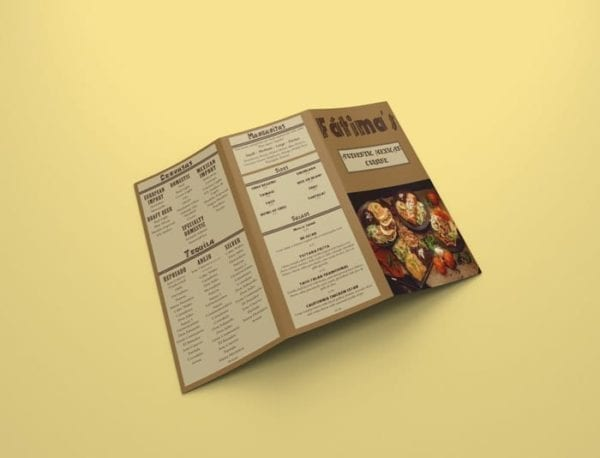 restaurant menu design example front