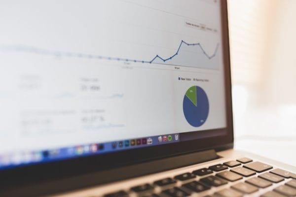 analytics charts on laptop